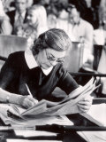 Author Mary McCarthy Reading Newspaper During Watergate Hearings, Photographic Print