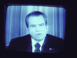 TV Image of Pres. Richard M. Nixon Announcing His Resignation in Speech from the Oval Office , 1969-1974, Giclee Print