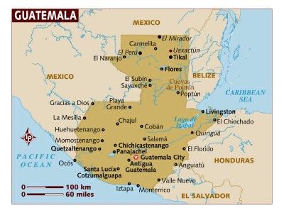 Map of Guatemala, Central America, Photographic Print