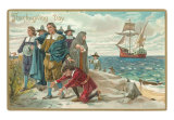 Thanksgiving Day, Landing at Plymouth Rock, Massachusetts Art Print