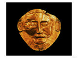 Funerary mask from Mycenae, formerly thought to be that of Agamemnon (gold) Giclee Print