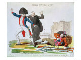 The Awakening of the Third Estate (political cartoon showing Church and Nobility recoiling in fear Giclee Print