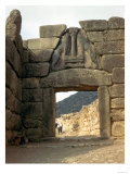 Lion Gate over the entrance to the Palace of Mycenae, Greece, 15th century BC, Giclee Print