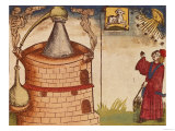 Illustration of an alchemist at work, German, 1519 (woodcut), Giclee Print