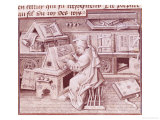 The Copyist Jean Mielot (Fl.1448-68) Working in His Scriptorium, Flemish, Giclee Print