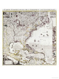 A Map of the British Empire in America, circa 1734, Giclee Print