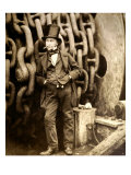 Isambard Kingdom Brunel (1806-1859) at Millwall, Leaning Against a Chain Drum, November 1857, Giclee Print