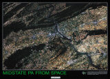 Pennsylvania Mid State, PA From Space, Art Print