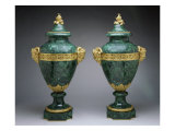 French Malachite Covered Urns, Giclee Print