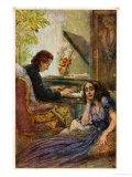 Postcard Depicting George Sand Listening to Frederic Chopin Play the Piano, Giclee Print