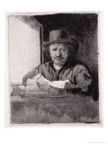 Self Portrait at the Window, Drawing on an Etching Plate, 1648, Giclee Print