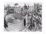 The Legend of Theseus with a Detail of the Cretan Labyrinth, Giclee Print