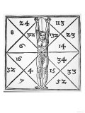 "The Proportions of Man and Their Occult Numbers from ""De Occulta Philosophia"", Giclee Print"