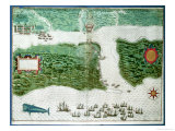 Map Depicting the Destruction of the Spanish Colony of St. Augustine in Florida on 7th July 1586, Giclee Print