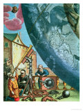 Astronomers Looking Through a Telescope, Detail from a Map of The Constellations, Giclee Print