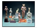 Several Statuettes of the Cat-Goddess Bast and Cat Figurines Representing the same Goddess, Egyptian, Giclee Print
