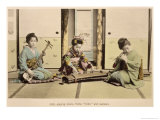 "Japanese Girls Playing the Flute, ""Koto"" and Samisen, circa 1880, Giclee Print"