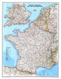 Map of France, Belgium, and The Netherlands, Art Print