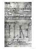 Geometrical Figures for Construction, Arches and Man Measuring the Height of a Tower, Villard de Honnecourt, Giclee Print