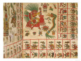 "Aztec Codex Borbonicus, ""Tonalamatl"", Detail Depicting Quetzalcoatl and Tezcatlipoca, Giclee Print"