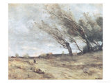 The Gust of Wind, circa 1865-70, Giclee Print, Corot