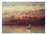 Lake Leman with Setting Sun, circa 1876, Giclee Print