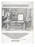 "Scene from Durer's ""Course in the Art of Drawing"", Published Nuremberg 1525, Giclee Print"