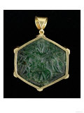 Hexagonal Carved Mughal Emerald in Gold Mount, Indian, 17th Century, Giclee Print