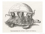 Earth is Supported on Elephants Standing on a Tortoise, Giclee Print