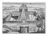 Mexican Priests Sacrifice Prisoners to Huitzilopochtli at the Great Temple of Tenochtitlan, Giclee Print
