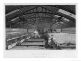 Interior of Cotton Factory: Mule Spinning Lancashire Child Sweeps Inside Moving Machine, Giclee Print