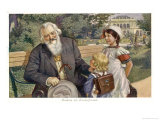 Johannes Brahms, German Musician with Child Friends, Giclee Print