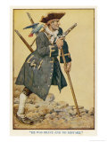 Long John Silver with His Parrot on His Shoulder, Giclee Print