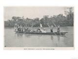Mary Henrietta Kingsley, Traveller and Writer in her canoe on the Ogooue (Ogowe) River, Gabon 1896, Giclee Print