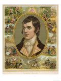 Robert Burns, Scottish National Poet, Portrait Surrounded by His Creations, Giclee Print