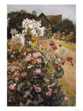 Shakespeare's Garden Stratford-On-Avon. a Packed Herbaceous Border Leads up to the House, Giclee Print