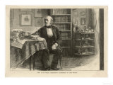 Hans Christian Andersen, Danish Writer in His Study, Giclee Print