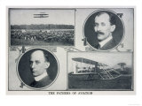 Portraits of Wilbur (Left) and Orville (Right) Wright and Pictures of Their Planes, Giclee Print