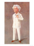 Mark Twain, American Writer Born: Samuel Langhorne Clemens Pictured in a White Suit, Giclee Print