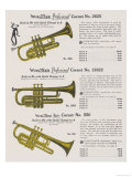 Trio of Vocal Cornets from the Wurlitzer Range, Giclee Print
