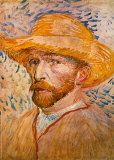 Vincent van Gogh with Straw Hat, Self Portrait, Art Print