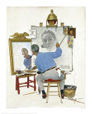 Norman Rockwell - Triple Self Portrait, Giclee Print