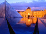 The Louvre and Glass Pyramid; Paris, France; Giclee Print