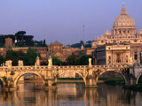 Ponte St. Angelo and St. Peter's Basilica, Rome, Italy, Photographic Print