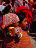 Mother and Baby in Crowd, Zunil, Guatemala, Photographic Print