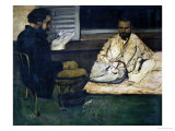 Paul Alexis (1847-1901) Reading a Manuscript to Emile Zola (1840-1902) 1869-70 , Giclee Print, Paul Cezanne