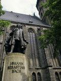 Monument to Johann Sebastian Bach Outside St. Thomas Church, Leipzig, Germany, Photographic Print