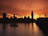 Sunset over the Houses of Parliament, UNESCO World Heritage Site, Westminster, London, Photographic Print