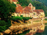 Village Reflections in Dordogne River, Evening, La Roque Gageac, Aquitaine, France, Photographic Print