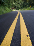 Yellow Stripe on Highway, Photographic Print